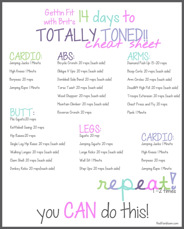 Printable Cardio Workouts: 14 Days To Totally Toned {CARDIO} AND Printables