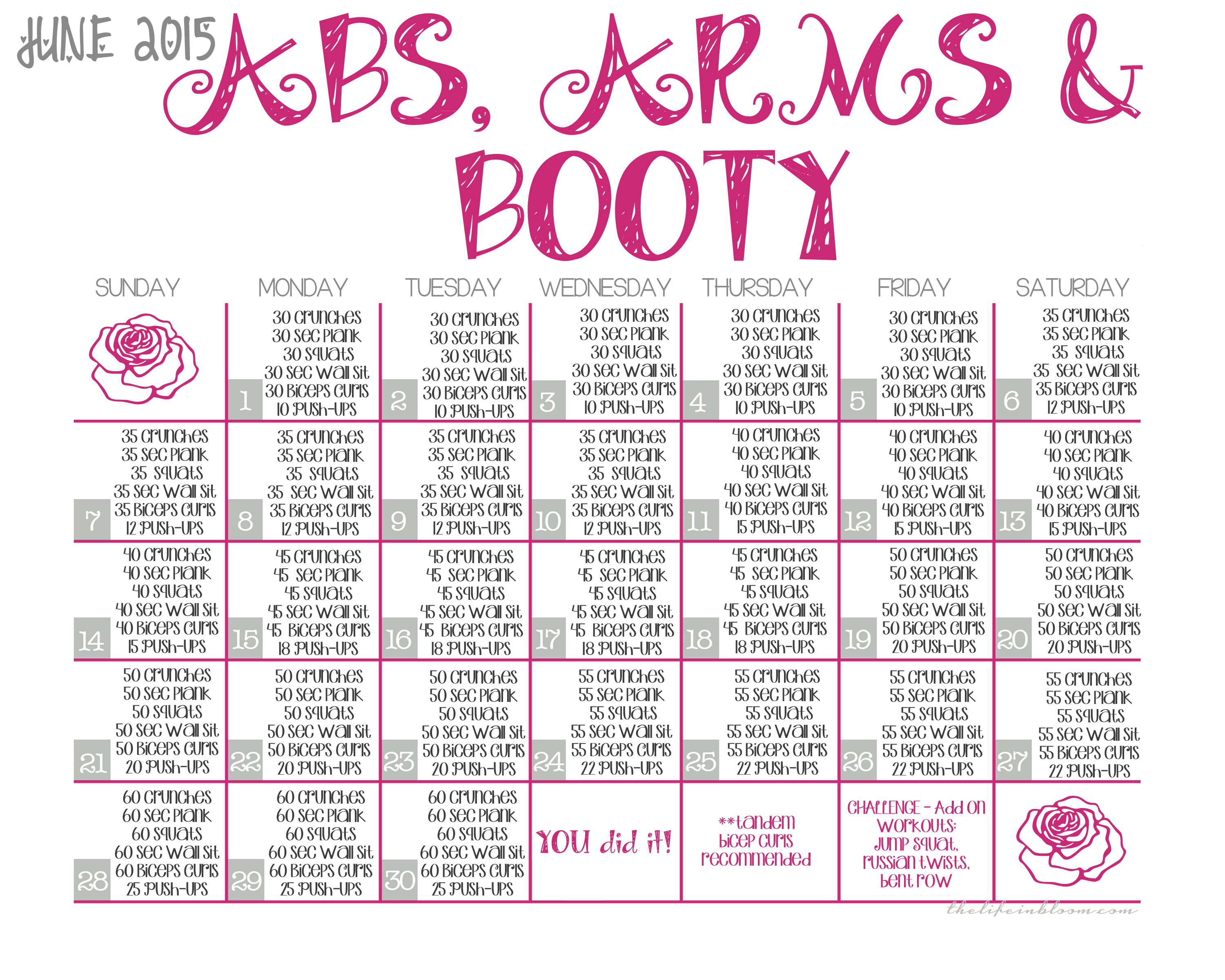 Workout Calendar For Abs : Abs arms booty june printable calendar