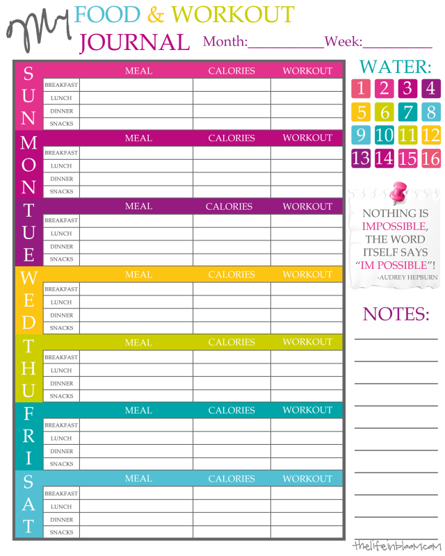 free printable weight loss journal